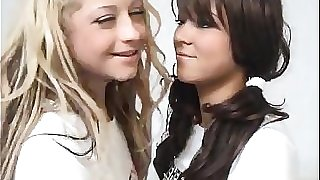 Blond Teen Fucks A Brunette Schoolgirl With Strapon